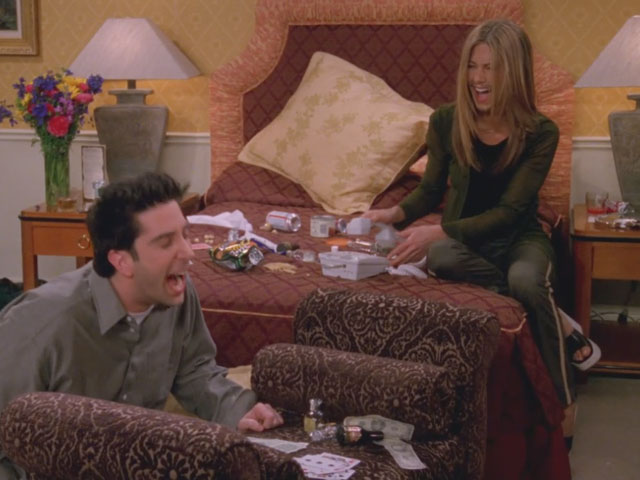 Friends | 524 | Rachel and Ross drunk in their Vegas hotel room