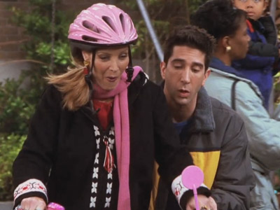 Friends | 709 | Ross teaches Phoebe to ride her bike